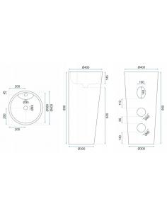 Kabina prysznicowa półokrągła 90x90 cm z brodzikiem